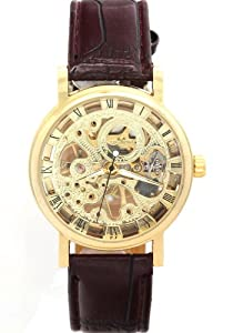 WINNER Unisex Fashion Luxury Water Resistant Gold Round Dial Skeleton Hand Wind Mechanical Watches