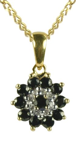 9CT Yellow Gold Sapphire and Diamond Cluster Pendant on 18