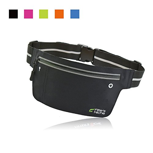 Fitter's Niche UltraSlim Fitness Sport Running Belt Fanny Pack, Water Resistant, 360 Degree 3M Reflective Adjustable Waistband, for Smartphone Android iPhone up to 6 inches, Infinite Black (Waist Pack Running compare prices)