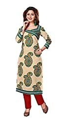 AMP IMPEX Ethnicwear Women's Kurti Fabric Beige Free Size