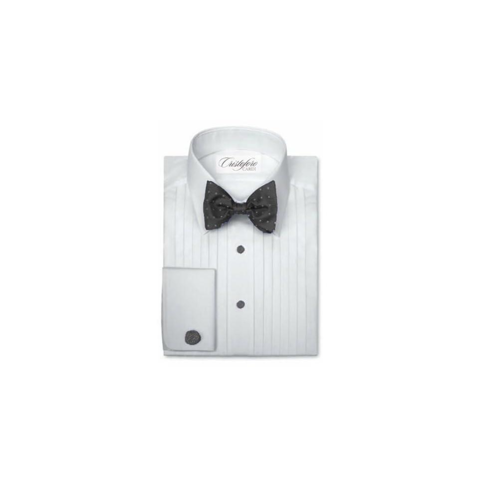 Cardi Mens Cotton Tuxedo Shirt   1/2 Inch Pleat Laydown Collar