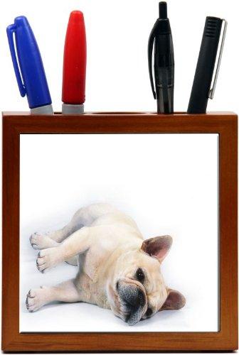 Rikki KnightTM English Bulldog Puppy Sports Design 5 Inch Tile Wooden Tile Pen Holder