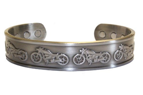 Motorcycle Antique Silver Plated Harley Solid Copper 6 Magnet Magnetic Therapy Cuff Men's Bracelet
