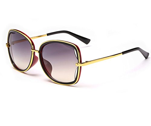 [Konalla Women's Oversized Style Gold Metal Frame Colored Lens Sunglasses C2] (Daredevil Costumes Replica)