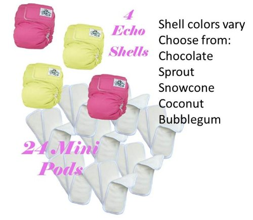 Softbums Mini Dry Touch Pods Cloth Diaper 24 Pack With 4 Echo Diaper Shells With Slide2Size (Newborn Size)