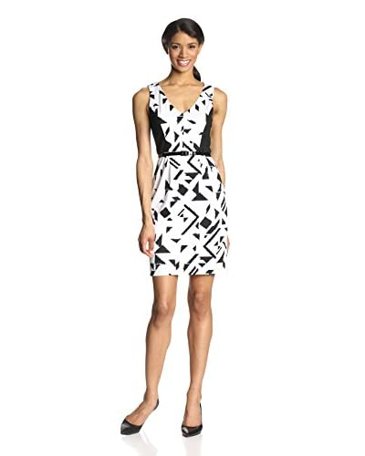 Vince Camuto Women's Printed V-Neck Bodycon Dress with Contrast Sides