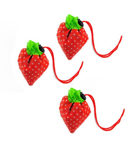 Cool2Day 3 Pcs Strawberry Folding Reusable Compact Eco Periodic Duty Shopping Bag (Model: B010450) (Red)