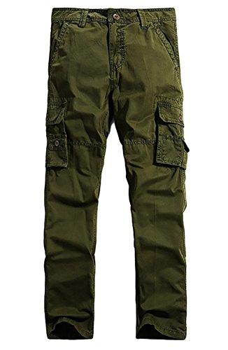 NiSeng Militari Pantalone Cargo con Tasconi Laterali Cotone Pantaloni da Lavoro da Uomo Army Green 31
