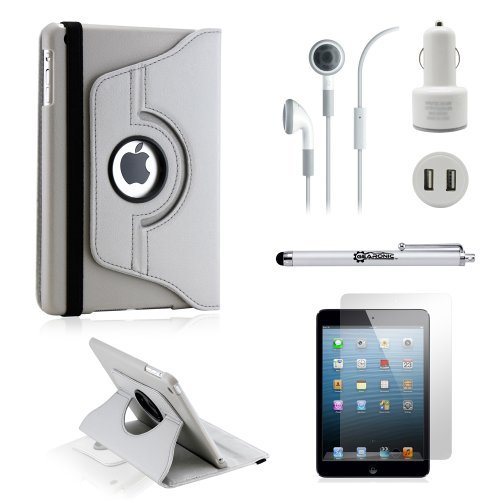 Gearonic Ipad Mini 5-In-1 Accessories Bundle Gray Rotating Case Business Travel Combo