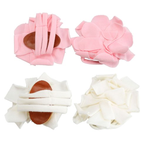 2 Pairs Infant Baby Newborn Cotton Barefoot Petals Flower Sandals Shoes Socks Feet Deco Pink&White