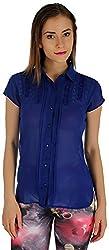 Holidae Women's Georgette Sheer Fitted Shirt (hi-tp-sh-080_XL, Blue, XL)