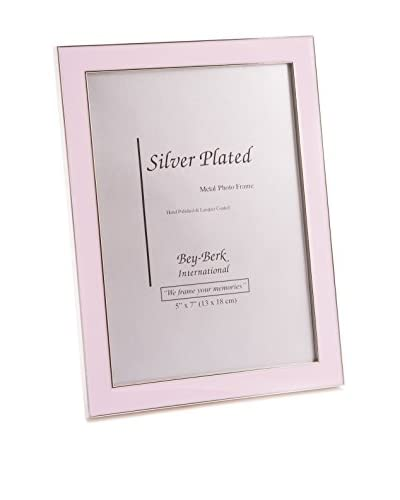 Bey-Berk Silver-Plated 5 x 7 Picture Frame with Enamel, Pink