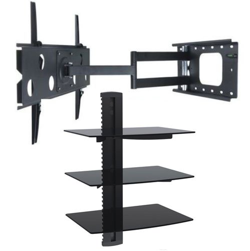 2xhome – NEW TV Wall Mount Bracket (Single Arm) & Triple Shelf Package – Secure Cantilever LED LCD Plasma Smart 3D WiFi Flat Panel Screen Monitor Moniter Display Large Displays – Long Swing Out Single Arm Extending Extendible Adjusting Adjustable – 3 Tier Under TV Tempered Glass Floating Hanging Shelves Shelving Unit Rack Tower Set Bundle – Full Motion 15 degree degrees Tilt Tilting Tiltable Swivel Articulating Heavy Duty Strong Durable Support – Mounted Mounting Home Entertainment Media Center Multimedia Furniture Family Living Room Game Gaming – Management Designer Organization Space Saver System HDTV HDMI HD Video Accessories Audio Video AV Component DVR DVD Bluray Players Cable Boxes Consoles Satellite XBox PS3 – Compatible VESA 100mm x 100mm, 200mm x 200mm, 400mm x 400mm , 600mm x 400mm, 700mm x 450mm, 718mm x 450mm, 720mm (W) x 470mm(H) – Universal Fit for LG Electronics Samsung Vizio Sharp TCL Toshiba Seiki Sony Sansui Sanyo Philips RCA Magnavox Panasonic JVC Insignia Hitachi Emerson Element SunBrite SunBright 45″ 46″ 47″ 48″ 49″ 50″ 51″ 52″ 53″ 54″ 55″ 56″ 57″ 58″ 59″ 60″ 61″ 62″ 63″ 64″ 65″ 66″ 67″ 68″ 69″ 70″ 71″ 72″ 73″ 74″ 75″ 76″ 77″ 78″ 79″ 80″ 81″ 82″ 83″ 84″ 85″