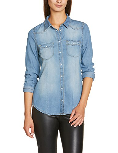 Vero Moda - Camicetta Moda, Manica lunga, Donna, blu (Blau (Light Blue Denim)), S