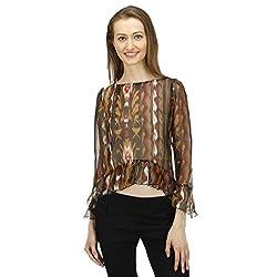 ELI Muticolour Printed Party Wear Casual Hi-Low Flare Women Top