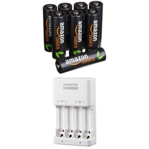 Amazonベーシック 高容量充電式ニッケル水素電池 急速充電器セット 単3形充電池8個パック付