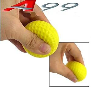 50pcs A99 Golf PU foam Yellow ball restricted flight balls practice/training aid with metal wire range bucket from A99 Golf
