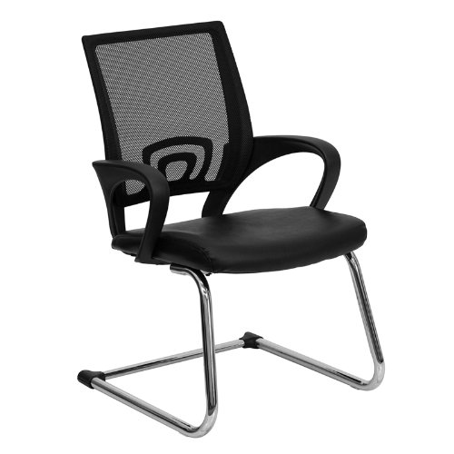Flash Furniture Cp-D119A01-Bk-Gg Black Leather Office Side Chair With Black Mesh Back/Sled Base