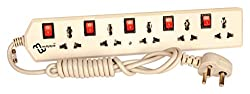 multybyte Power Strip 5 Way with Individual Switch