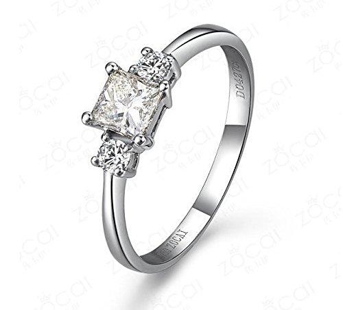 0.58 Carat Three Stone Diamond Engagement Ring with Princess cut Diamond on 14K White gold