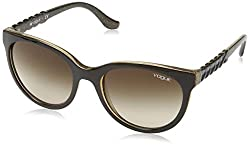 Vogue Gradient Rectangular Sunglasses (0VO2915S225913Medium) (Top Brown and Glitter Brown)