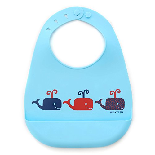 Bella Tunno Whales On Parade Boy Silicone Wonder Bib - 1