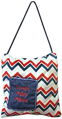 Caught Ya Lookin' Tooth Fairy Pillow, Red/Blue Chevron, White, Green