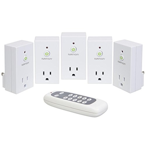 Ivation Programmable Wireless Remote Control 110V AC Plug in Outlet Switch Socket - 5 Pack - for Use With All Electronics, Appliances, Lighting and Electrical Equipment - Radio Frequency Technology Works Through Walls Up To 90 feet Away *Battery Included*