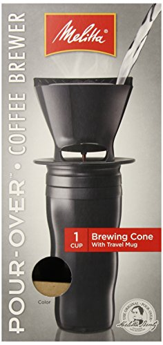 Melitta Coffee Maker, Single Cup Pour-Over Brewer With Travel Mug, Black (Pack Of 2)