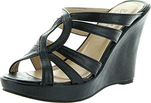 Womens Black Wedge Sandals