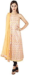 Bee Gee Boutique Women's Synthetic Unstitched Dress Materials (BG-46, Orange)
