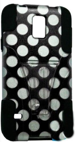 Mylife Deep Coal Black And Black Polka Dot Design - Neo Hybrid Series (Built In Kickstand) 2 Piece + 2 Layer Case For New Galaxy S5 (5G) Smartphone By Samsung (External Hard Fit Armor With Built In Kick Stand + Internal Soft Silicone Rubberized Flex Gel B front-334890