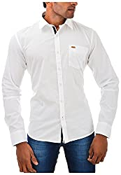 Casinova Men's Cotton Casual Shirt (1045_A-Medium, White, Medium)