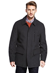 Classic Collar Car Coat with Wool