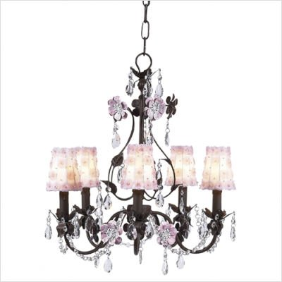 Flower Garden Chandelier with White/Pink Petal Flower Shade in Mocha/Pink