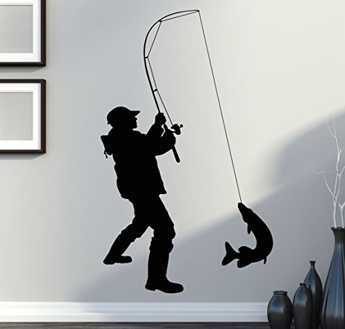 Wall Stickers Vinyl Decal Fish Fishing Fisher Decor For Living Room (z1433i) (Fishing Fish Fisher Decal compare prices)