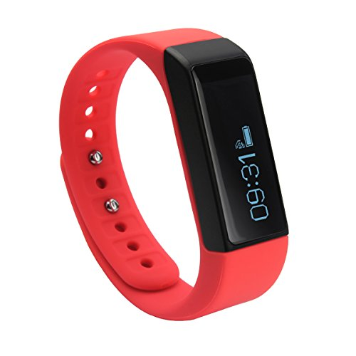 Next-shine Fitness tracker Replacement Waterproof with Sleep Monitor, Red