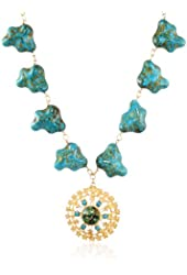 Devon Leigh Mosaic Turquoise Howlite, 18K Gold Dipped Pendant Necklace