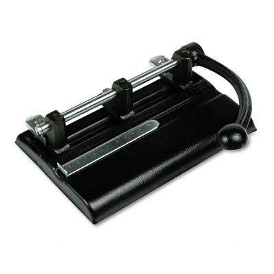Master Adjustable 40-Sheet 3-Hole Punches with Power Handle, Black (MAT1340PB)
