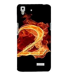 PrintVisa 2 Number Fire Design 3D Hard Polycarbonate Designer Back Case Cover for Oppo R7