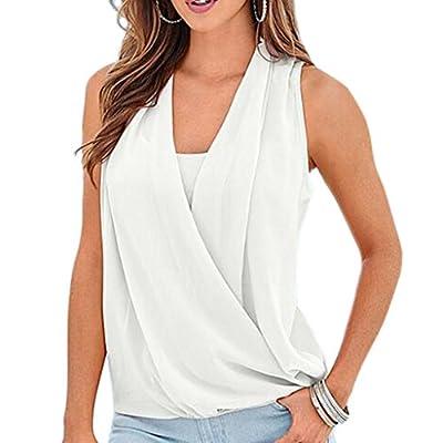 RAYWIND Women's Drape Wrap Elastic Hem Chiffon Vest Top Sleeveless Shirt Blouse