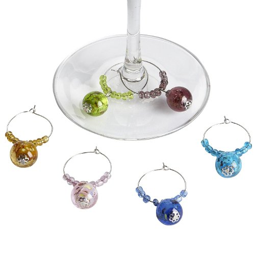 Pier 1 Imports Glass Ball Wine Charms -(Set of 6) (Pier One Imports Wine Glasses compare prices)