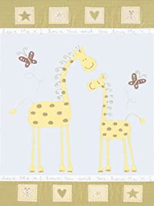"Art 4 Kids ""Giraffe Mother and Baby"" Mounted Art Print, 18""x24"""