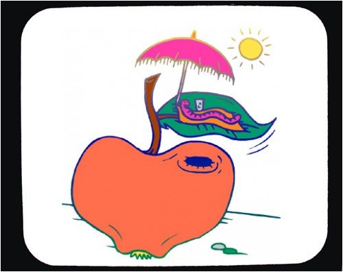 Decorated Mouse Pad with apple, sunbathing, worm, relaxing, vacation