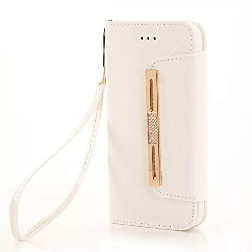 "(Case For Iphone 6/4.7 Inch) Bon Venu Smart Leather Flip Case Lady Bag Purse Elegant Purse Wallet Creadit Card Holder Flip Case Cover With Diamond For Apple Iphone 6 4.7"" Case +Screen Protector (White)"