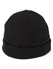 Turn Up Brim Reversible Fleece Beanie Hat