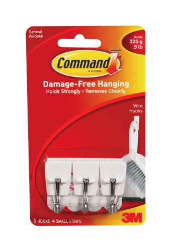 Command 17067 Small Wire Hooks, 3 Hooks 4 Strips