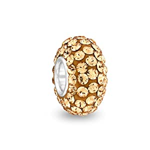 Bling Jewelry Sterling Silver Gold Swarovski Crystal Bead Pandora Compatible
