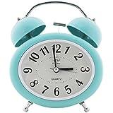 Quartz Twin Bell Alarm Clock With Light (1h137) - Cyan - Analog Room Decor (Size 12.5x6x15 Cm)