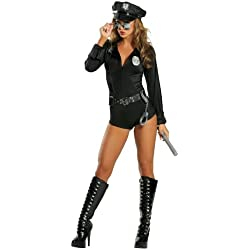 Roma Costume 7 Piece Lady Cop, Black, Medium/Large